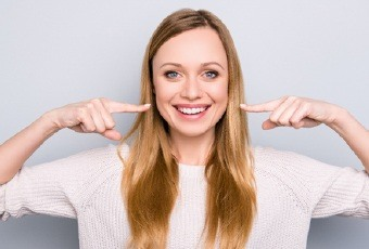 woman showing off smile