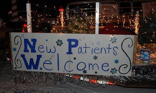 Hand drawn new patients welcome sign