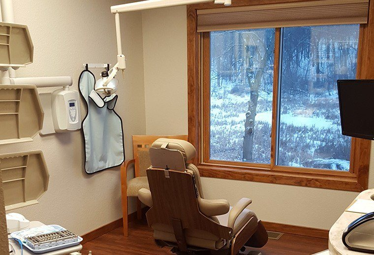 Patient treatment room overlooking woods